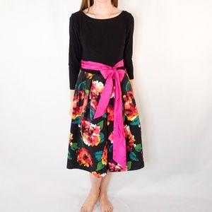 ELIZA J Contrast Floral Shift Dress Pink Waist Tie